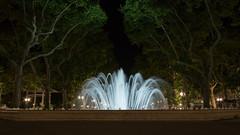 Night Fountain (Lee Rosenbaum) Tags: water longexposure architecture montpellier trees france fountain night