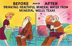 Before and After Drinking Healthful Mineral Water from Mineral Wells, Texas (sdwalden6) Tags: mineralwells mineralwellstx crazywater beforeandafter postcard postcards vintagemineralwellspostcard vintage antique retro oldmineralwellspostcard old oldpostcard