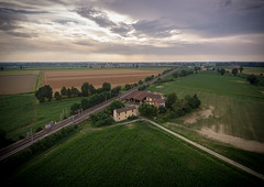 Rail Station in Po Valley (Stefano Guerrini Rocco_) Tags: italy adda river fiume italia drone landscape panorama paesaggio nature natura spring summer estate primavera colori colors trees alberi po valley pianura padana train station stazione treni sky clouds cielo