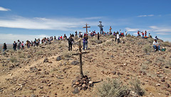 Traditional pilgrimage to Tomé Hill on Good Friday. Valencia Co., New Mexico, USA. (cbrozek21) Tags: holyplace toméhill pilgrimage goodfriday newmexico people cross holiday ritual custom 7dwf