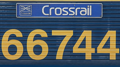 66744 (JOHN BRACE) Tags: 2003 gmemd london canada built co class 66 loco 66744 gb railfreight europort livery named crossrail this was for drs numbered 66408 till june 2009 when it renumbered 66843 sold colas then july 2011 seen tonbridge west yard eastleigh