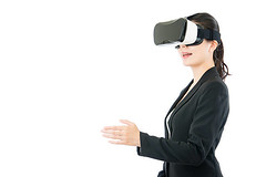 Asian business woman handshake by VR headset glasses - Credit to https://www.lyncconf.com/ (nodstrum) Tags: technology tech game gaming virtualreality reality augmentedreality oculusrift oculus future headset industry immersive