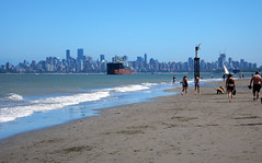 Low tide at Spanish Banks in Vancouver (albatz) Tags: cooling ocean beach lowtide spanishbanks vancouver city skyline tanker canada