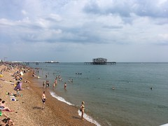 Palace Pier and West Pier, Brighton (looper23) Tags: brighton west pier palace hove seaside beach july 2018 sussex summer