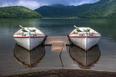 6 months in a leaky boat (kellypettit) Tags: boats outdooradventure explore trianglemountain lookslikemtfuji lake rowboats reflections heavyclouds scenic japan gunma resort haruna rainyseason