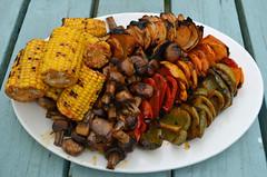 BBQ veg (conall..) Tags: bbq barbecue veg vegetables capsicum maize onion mushroom