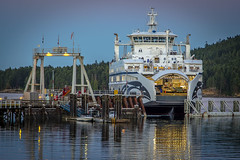 Salish Raven (Paul Rioux) Tags: bc ferry salish raven marine dock wharf boat ship vessel evening dusk lights calm water reflection prioux sturdies bay galiano island ramp vehicles