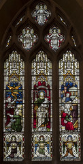Scarborough, St Mary's church window (Jules & Jenny) Tags: scarborough stainedglasswindow stmaryschurch moses bronze goodshepherd stpaul