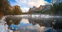 Epic Panorama! Fine Art Yosemite National Park Winter Snow Landscape Photography! Valley View Merced River El Capitan! Sony A7R II Mirrorless & Carl Zeiss Vario-Tessar T* FE 16-35mm F4 ZA OSS Lens SEL1635Z! Scenic Yosemite California Sunset Dusk Blue Hour (45SURF Hero's Odyssey Mythology Landscapes & Godde) Tags: dusk bluehour