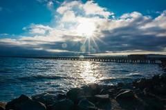 Long Pier (World-viewer) Tags: nice light seascape seashore vista scenic ngc travel ilce6000 a6000 sony landscape pier sunset ocean sea water marine