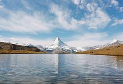 Three Views of the Matterhorn - 3/3 (DawnChapman) Tags: analog film 35mm filmphotography travel kodak kodakektar100 ektar100 ektar landscape mountain mountains lake snowcapped zermatt switzerland matterhorn