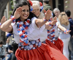 The Aloha Spirit (Cathy de Moll) Tags: parade hula dancers exercise red smiles