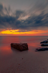 The Rock (gauravk.sharma) Tags: capecod sunset rocks seascape sea sand massachusetts colors canon newengland longexposure