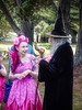 Wings and the Warlock (Steve Taylor (Photography)) Tags: black blue brown pink green fun happy lady woman man newzealand nz southisland canterbury christchurch newbrighton trees fairy dress hat wings wizard staff tattoo costume outfit warlock