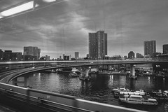 (Tednoir) Tags: monochrome mono blackwhite blackandwhite bw bnw city urban japan train tokyo bridge water sea ocean bay odaiba building landscape