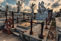 The Reina Cemetery (ramerk_de) Tags: hdr graveyard cienfuegos cuba clouds sunset sleepingbeauty