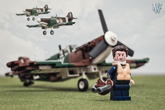 Wing Leader, Eagle Squadron (Dread Pirate Wesley) Tags: lego moc airplane plane fighter spitfire world war 2 battle britain english channel england british few eagle squadron dogfight american