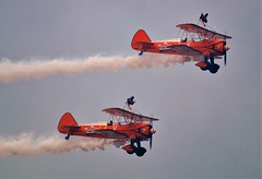 Wing Walkers 4 (howell.davies) Tags: acrobatic aerosuperbatics wing walkers wingwalkers stearman biplanes flying flight fly sky circus airshow swansea uk 2018 nikon d3200 55300mm wales aircraft