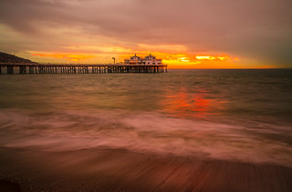 Malibu Pier Sunsrise! Winter Storm Breaking Malibu Beach! Brilliant Sunset Clouds Malibu Surfriders Fine Art Landscape Seascape Photography! High Res Colorful Red Yellow Orange Clouds! Sony A7R2 Carl Zeiss Sony Vario-Tessar 16-35mm f4 OSS Emount Lens!