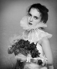 Julia (Magdalena Roeseler) Tags: woman girl bw sw monochrome portrait beautiful faces flowers olympus painting