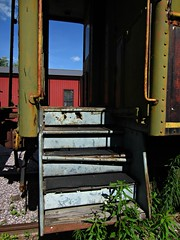 (AmyEAnderson) Tags: new freedom wisconsin outdoor midcontinent railway museum train car abandoned paint green steps metal handrails broken bolts weeds vintage historic