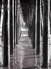 Under the pier... (THE.ARCH) Tags: oceanside california pier pacificocean blackandwhite bw water waves