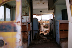Abandoned Bus 35mm Film Nikon fm2 Ektar 100 (Lauren Fritts) Tags: abandonedbus vwbus antiquebus hippie bis bus volkswagen beach roadtrip abandoned lauren fritts laurenfrittsart laurenfrittsartist laurenfritts frittsart