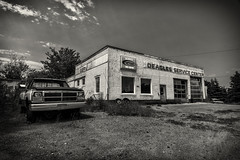 Deagles Service Center (SNAPShots by Patrick J. Whitfield) Tags: abandoned architecture old life buildings cars vehicles dodge mopar lines patterns texture details shadows bw blackwhite blackandwhite monochrome noire noiretblanc rural exploring shops decay landscapes souris princeedwardisland repairshop mechanisms