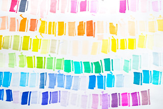 Color testing on a paper. Many shades of highlighter color are tested on a piece of paper