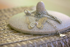 Lucky charm (victoriameyo) Tags: luckycharm smileonsaturday beauty silver butterfly vintage object closeup macro still life jewellery pendant