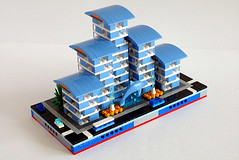 Dolphin Point - Front (cazphoto.co.uk) Tags: leg moc myowncreation jul18 12block micropolis lego residentialzone dolphinpoint dolphin apartments blue