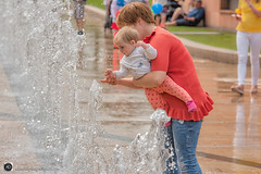 A Touching Moment (alundisleyimages@gmail.com) Tags: people baby toddler water fountain touch experience young mother teaching spurting liverpool publicplace bokeh wet shoppingcenter liverpoolone