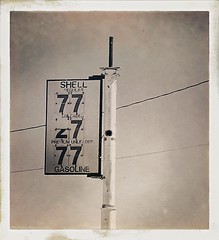 On the road (Maureen Bond) Tags: ca maureenbond mojave desert ontheroad sign gas vintage iphone gasoline shell wires