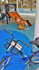 S Jane bike sliding board (V-rider) Tags: rhm ralph vrider97 jane wife keywest honeymoon floridakeys keys florida travel bike adventure sail hobiecat catamaran sunset boats