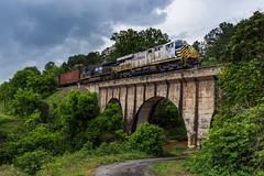 Crossing Over (lukeharwell) Tags: canon overcast gloomy cloudy northcarolina catawba county railroad railway freight train concrete bridge es44ac emd ge norfolksouthern citirail ns crex