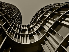 Axel Towers (RobertLx) Tags: sepia monochrome modern contemporary architecture geometric denmark copenhagen tower europe nordic city building axeltowers abstract curve line
