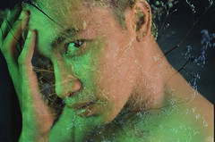 L2 Head is mess 6 (Wood Oliver) Tags: film 135 canon eos5 50mm18 stm olympus om2 double exposures lighting indoor studio zuiko eye hand green kodak vision asa500t swap