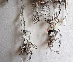 The Truth / Die Wahrheit (Ines Seidel) Tags: newspaper altered ritual transformation fullmoon sewing water rain truth paper paperart fiberart zeitung nachrichten news papier