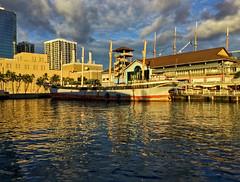 Golden Hour (jcc55883) Tags: goldenhour sunset sky clouds hdr hawaii oahu honolulu honoluluharbor alohatowermarketplace alohatowerdrive alamoanaboulevard ocean pacificocean fallsofclyde saildriven hawaiimaritimecenter ipad luckywelivehawaii nautical harbor