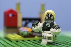 The Zombie Cheerleader (N.the.Kudzu) Tags: tabletop lego miniature zombie cheerleader canondslr canoneflens lightroom flash