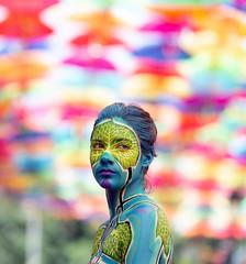 Painted girl (Sérgio Gonçalo - Photo & Design) Tags: bodypainting girl águeda agitágueda portugal portrait street streetshot arteurbana artistic creative colours funny nikon