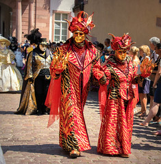 Carnival of Venice in Riquewihr 2018 - Carnaval vénitien de Riquewihr 2018 (4) (Cloudwhisperer67) Tags: canon fantastic carnival riquewihr alsace france 2018 parade 760d venetian masquerade ball masked mask venise venezzia venice italy cloudwhisperer67 fest great colors flashy incredible amazing photgraphy love lovely adorable blue robes robe costume costumes bal masqué divine comedy woman splendid urban city cityscape magic magical moment poetry image photography fantasy bokeh travel trip color people carnaval art fun europe europa 760 vénitienne rêveries vénitiennes july disguise red flame flames yellow gold