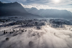 Sea of clouds (3dgor 加農炮) Tags: seaofclouds indonesia village drone phantom4pro morning clouds highland landscape