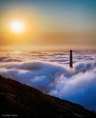 Golden Gate (Joseph Greco) Tags: goldengatebridge fog sanfrancisco california vertical sun sunrise landscape marinheadlands bridge
