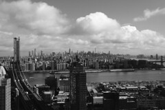 Gotham City (Zach K) Tags: skyline architecture design manhattan brooklyn nyc buildings eastriver east river bw black white gothamcity urban urbanism space place cloudy day fujfilm fuji xt2 23mm xf23mm xf23mmf2 manhattanbridge williamsburgbridge dumbo midtown eastmidtown les density building city
