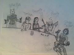 Supervillain Date (Gallisuchus (Clayface)) Tags: dc comics supervillains date drawing sketch pencil art killer tiger moth dragonfly firefly black silken spider