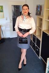 Have a nice weekend! (Rikky_Satin) Tags: silk satin blouse scarf pencil skirt pvc pumps belt handbag purse pantyhose nylons crossdresser crossdressing transformation transvestite tgirl tgurl gurl sissy secretary office fashion