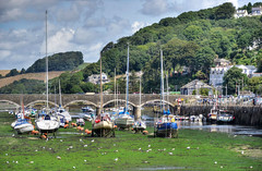 The Looe River at low tide, Cornwall (Baz Richardson (now away until 26 Oct)) Tags: cornwall looe looeriver lowtide yachts bridges