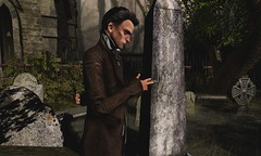 The right place... (Doctorgramm) Tags: victorian fun secondlife hotdog male pose cemetary creepy dark virtualworld sl old man men goldenage oldermen middleaged handsome ugly hugly
