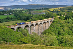 Sunny Smardale (whosoever2) Tags: uk united kingdom gb great britain england nikon d7100 train railway railroad july 2018 smardale viaduct settle carlisle drs class66 66304 6c89 mountsorrel sun summer